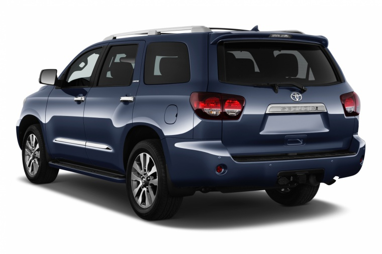 Picture of a 2018 Toyota Sequoia in Shoreline Blue Pearl from a rear left three-quarter perspective