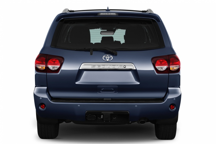 Picture of a 2018 Toyota Sequoia in Shoreline Blue Pearl from a rear perspective