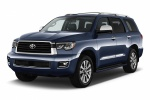 Picture of a 2019 Toyota Sequoia in Shoreline Blue Pearl from a front left three-quarter perspective