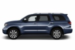 Picture of a 2019 Toyota Sequoia in Shoreline Blue Pearl from a side perspective