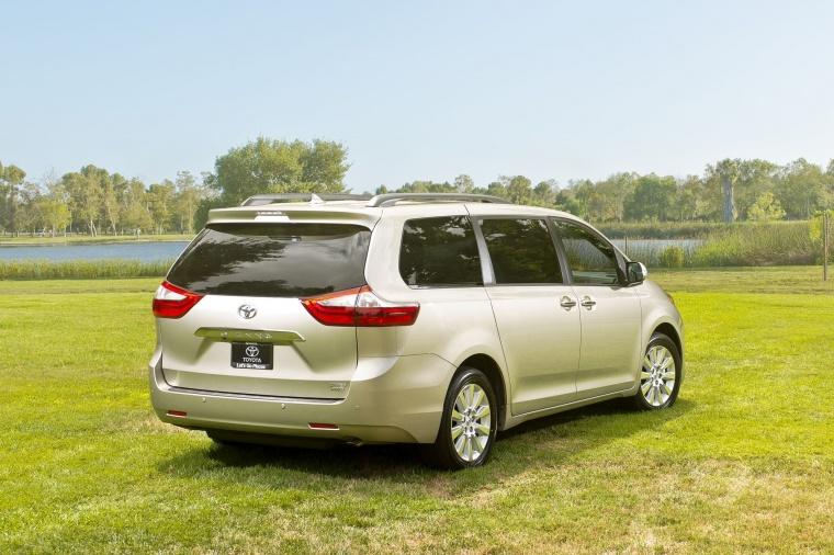2017 Toyota Sienna Limited AWD in Creme Brulee Mica from a rear right three-quarter view