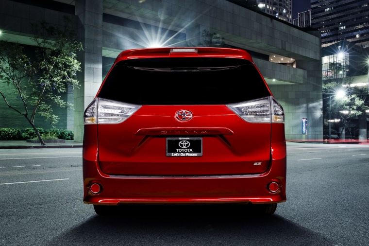 2017 Toyota Sienna SE in Salsa Red Pearl from a rear view