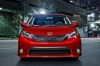 2017 Toyota Sienna SE in Salsa Red Pearl from a frontal view
