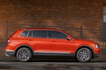 Picture of a 2019 Volkswagen Tiguan SE in Habanero Orange Metallic from a side perspective