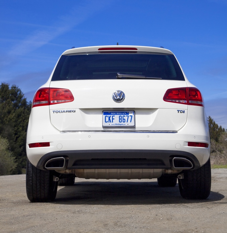 2011 Volkswagen Touareg TDI in Campanella White from a rear view