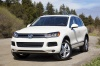 2014 Volkswagen Touareg TDI in Pure White from a front left three-quarter view